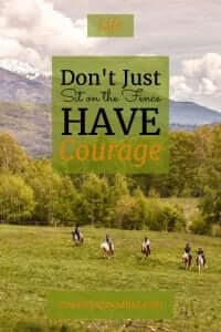 Don't just sit on the fence, have courage!