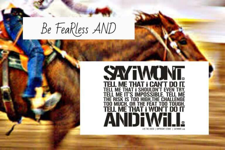 Be Fearless and Say I Won't