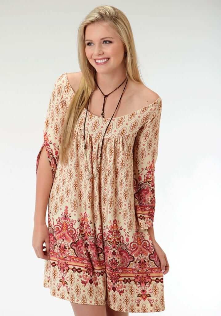 Women's Alluring Peasant Dress In Stretchy ITY Jersey