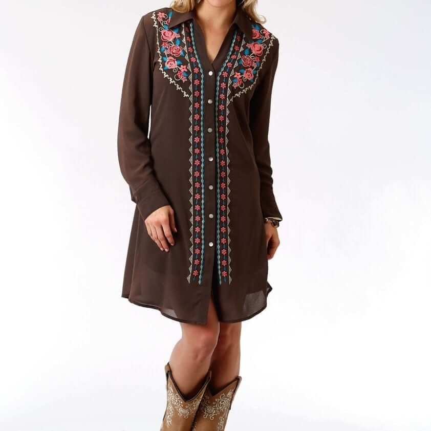 Women's Fashion Forward Shirt Dress In Soft Poly Georgette