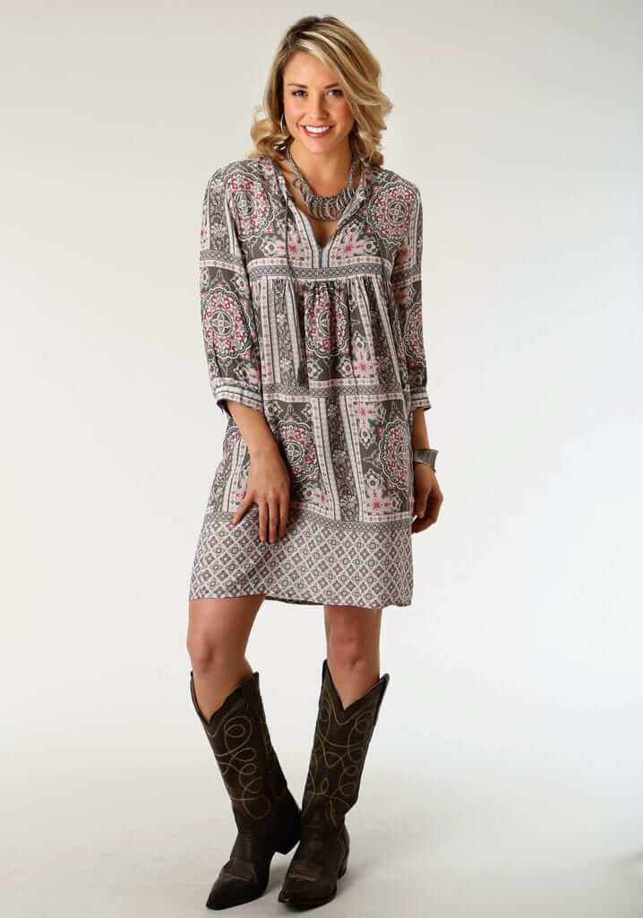 Women's Pretty And Easy To Wear Peasant Dress In Soft Rayon Challis